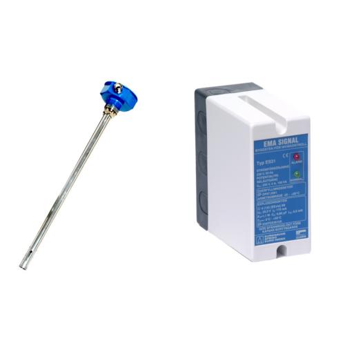 Termisztoros szintkapcsoló ES31 elektronika és R4-Kemi/KR szonda kémiai alkalmazásokhoz, etanolhoz és E85 1500mm/SS
